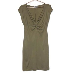 Moschino Cheap And Chic Ruched Olive Bodycon Dress